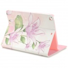 Protective Painted Lily PU Leather Case w/ Crystal for Ipad AIR - Pink + White