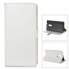 Stylish Protective PU Leather Case w/ Card Holder Slots for HTC One Max T6 - White