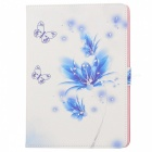 Protective Painted Butterfly PU Leather Case w/ Crystal for Ipad AIR - Blue + White