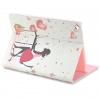 Protective On Line Shopping Girl Pattern PU Leather Case w/ Crystal for Ipad AIR - White + Red