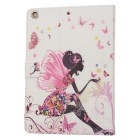 Protective Butterfly Girl Pattern PU Leather Case w/ Crystal for Ipad AIR - White + Pink
