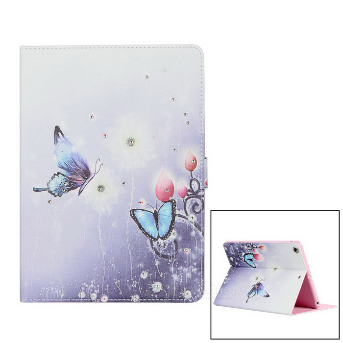 Protective Painted Butterfly PU Leather Case w/ Crystal for Ipad AIR - Light Blue + White dual usb ac power charger adapter for iphone ipad white ac 100 240 eu plug