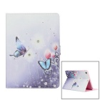 Protective Painted Butterfly PU Leather Case w/ Crystal for Ipad AIR - Light Blue + White