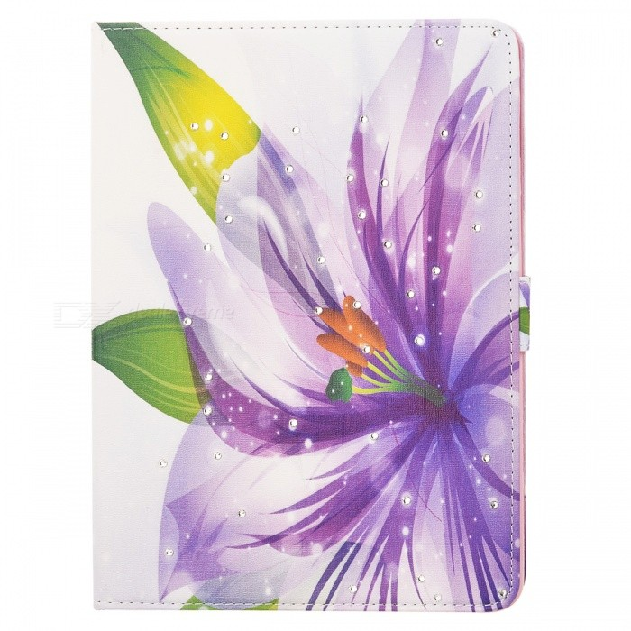 Protective Painted Lily PU Leather Case w/ Crystal for Ipad AIR - Purple + White