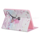 Protective Butterfly Girl Pattern PU Leather Case w/ Crystal for Ipad AIR - White + Light Pink