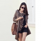 Leopard Pattern Women's Cotton Round Neck Long-Sleeve T-Shirt - Black + Brown (Size L)