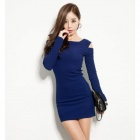 YLY-DXH425A-7532 Sexy Women's Jacquard Cotton Fit Dress - Deep Blue (Size L)