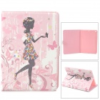 Protective Painted Flower Dress Girl PU Leather Case w/ Crystal for Ipad AIR - Pink