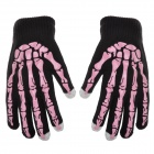 Skeleton Style Capacitive Touch Screen Touching Hand Warm Gloves - Pink + Black (Pair)