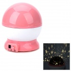 Fancy Warm White Light Starry Sky Pattern Projection Lamp w/ USB cable - Pink + White (4 x AAA)