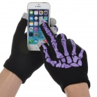 Skeleton Style Capacitive Touch Screen Touching Hand Warm Gloves - Purple + Black (Pair)