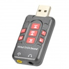 DGW Y-X2 USB 2.0 Virtual 7.1-CH Sound Card Adapter - Deep Grey + Red