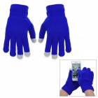 Casual Three Finger Capacitive Screen Touching Hand Warmer Gloves - Jewelry Blue (Pair / Free Size)