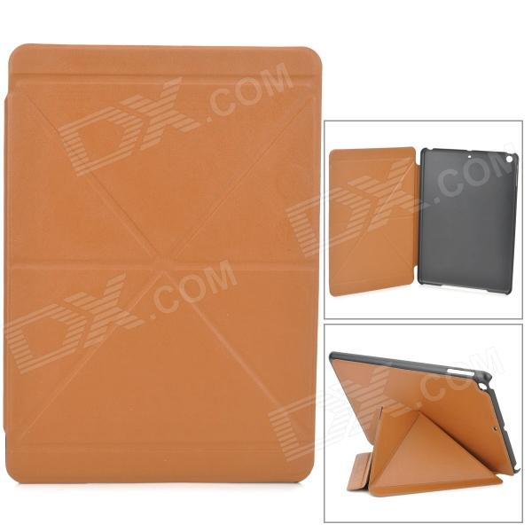 Stylish Folding PU Leather Case w/ Auto Sleep for Ipad AIR - Brown protective flip open pu pc case cover w auto sleep card slots stand for ipad air 2 blue