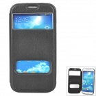 1 Protective Flip Open Dual Windows PU Leather Case for Samsung i9500 - Black