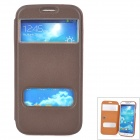 01 Protective Flip Open Dual Windows PU Leather Case for Samsung i9600 - Coffee