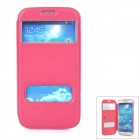 01 Protective Dual Windows Flip Open PU Leather Case for Samsung i9500 - Deep Pink