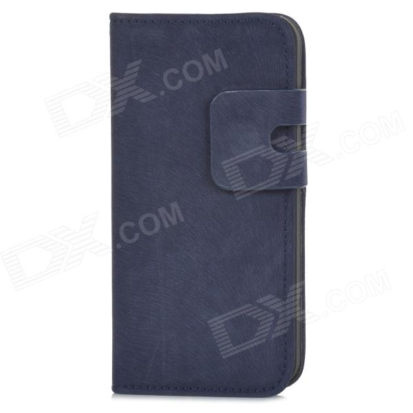 Protective Flip-open PU Leather Case w/ Holder + Card Slot for Iphone 5 / 5s - Deep Blue protective flip open pu case w stand card slot for iphone 5 5s pink