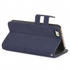 Protective Flip-open PU Leather Case w/ Holder + Card Slot for Iphone 5 / 5s - Deep Blue