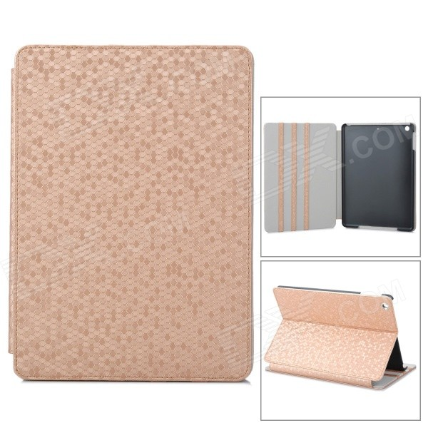 Fashion Diamond Grain Flip Open PU Leather Case for Ipad AIR - Golden flip left and right stand pu leather case cover for blu vivo air