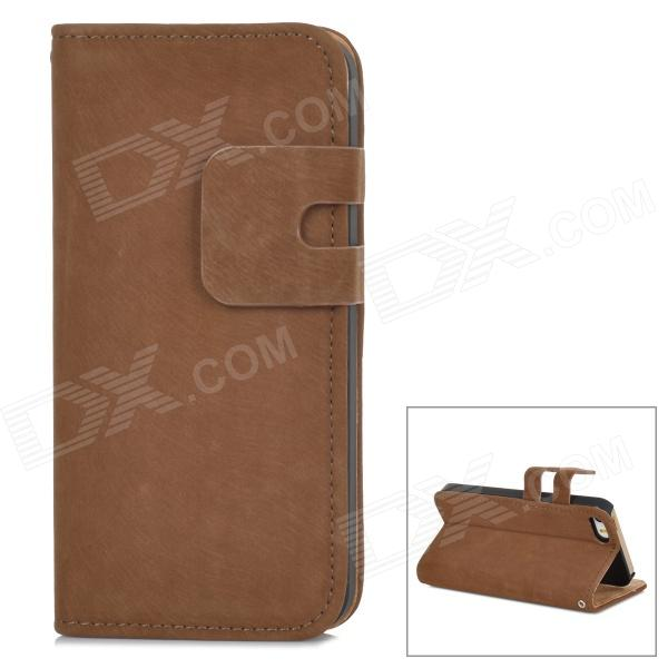 Protective Flip-open PU Leather Case w/ Holder + Card Slot for Iphone 5 / 5s - Light Brown simple plain flip open pu leather case w card slot for iphone 5s black