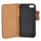 Protective Flip-open PU Leather Case w/ Holder + Card Slot for Iphone 5 / 5s - Light Brown