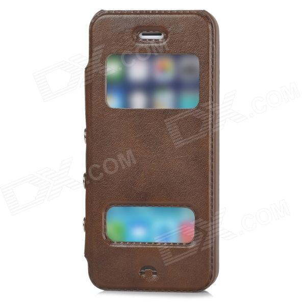 Protective PU Leather + Plastic Flip-open Case for Iphone 5 / 5s - Brown protective pu leather plastic flip open case for iphone 5 5s red