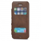 Protective PU Leather + Plastic Flip-open Case for Iphone 5 / 5s - Brown