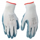A102 Polyester Car Cleaner Washer Gloves - White + Blue (Pair)