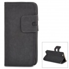Protective Flip-open PU Leather Case w/ Holder + Card Slot for Iphone 5 / 5s - Grey