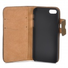 Protective Flip-open PU Leather Case w/ Holder + Card Slot for Iphone 5 / 5s - Coffee