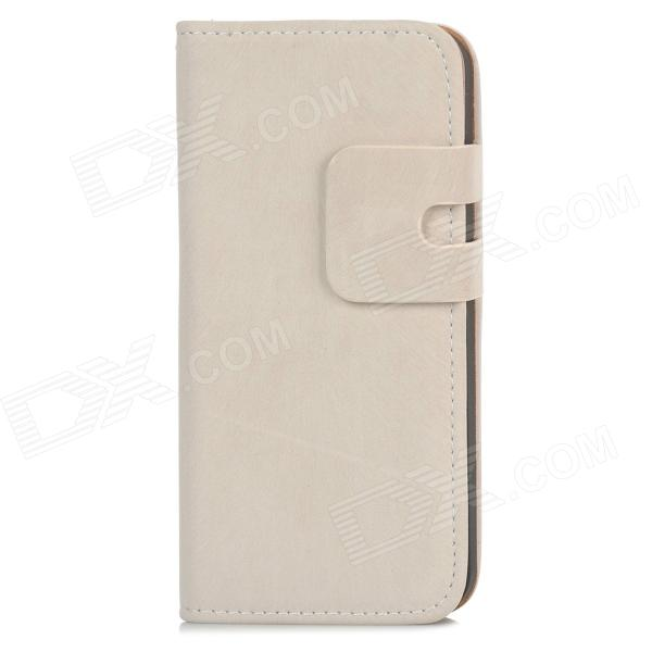 Protective Flip-open PU Leather Case w/ Holder + Card Slot for Iphone 5 / 5s - White protective flip open pu case w stand card slot for iphone 5 5s pink