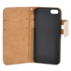 Protective Flip-open PU Leather Case w/ Holder + Card Slot for Iphone 5 / 5s - White
