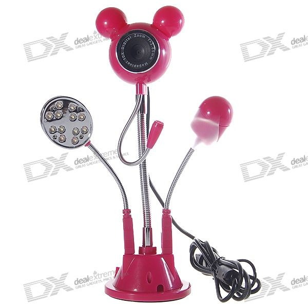 Cute Mickey Flexible Neck 300KP PC USB 2.0 Webcam with Fan + Microphone + 12-LED Light