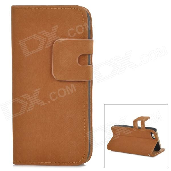 Protective Flip-open PU Leather Case w/ Holder + Card Slot for Iphone 5 / 5s - Brown protective flip open pu case w stand card slot for iphone 5 5s pink