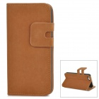 Protective Flip-open PU Leather Case w/ Holder + Card Slot for Iphone 5 / 5s - Brown