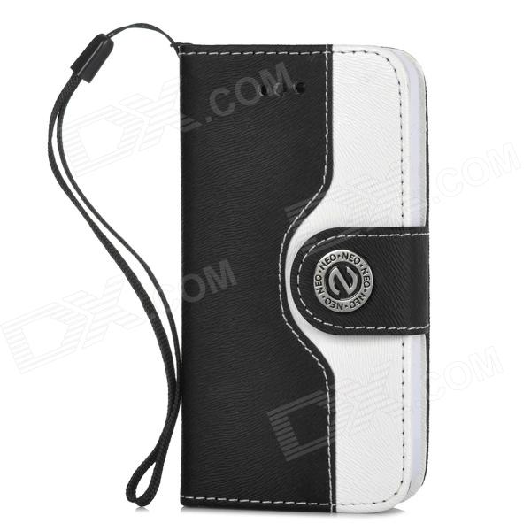 Protective PU Leather + Plastic Flip-open Case for Iphone 4 / 4s - White + Black
