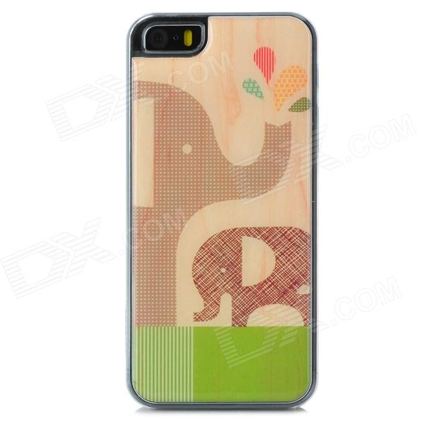 Elephant Pattern Protective Epoxy Back Case for Iphone 5 / 5s - Buff the elephant s journey