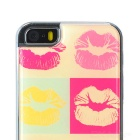 Kiss Pattern Protective Epoxy Back Case for Iphone 5 / 5s - Orange + Red + Multicolored