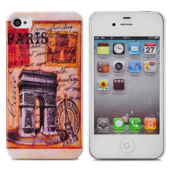 Triumphal Arch Pattern Protective Plastic Back Case for Iphone 4 / 4s - Earthy Yellow + Multicolored cartoon pattern matte protective abs back case for iphone 4 4s deep pink