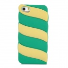 Cute Marshmallow Style Silicone Back Case for Iphone 5 / 5s - Green + Yellow