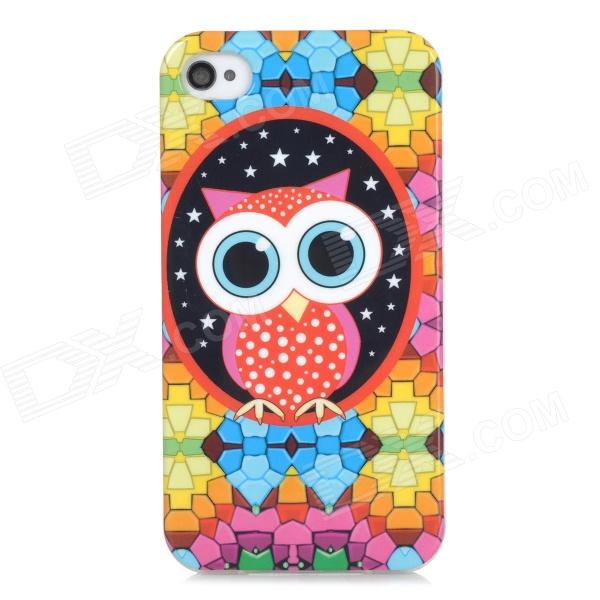 Cute Cartoon Owl Pattern Protective TPU Back Case for Iphone 4 / 4s - Multicolored stylish 3d eagle pattern protective abs pc back case for iphone 4 4s multicolored