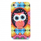 Cute Cartoon Owl Pattern Protective TPU Back Case for Iphone 4 / 4s - Multicolored