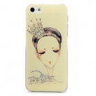 SN-01 Girl Pattern Protective PVC Back Case for Iphone 5 - Black + Silver + Multi-Colored