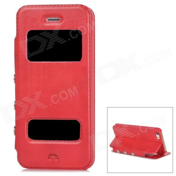 Protective PU Leather + Plastic Flip-open Case for Iphone 5 / 5s - Red protective pu leather plastic flip open case for iphone 5 5s red