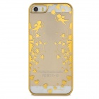 Heart Pattern Protective ABS Back Case for Iphone 5 / 5s - Golden + Transparent