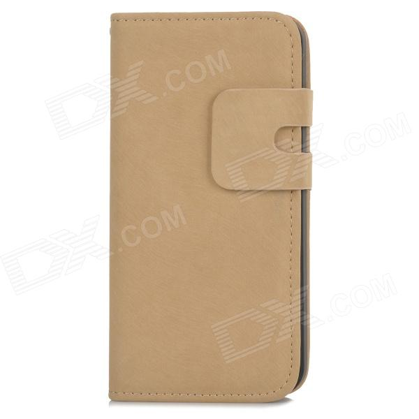 Protective Flip-open PU Leather Case w/ Holder + Card Slot for Iphone 5 / 5s - Khaki simple plain flip open pu leather case w card slot for iphone 5s black