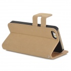 Protective Flip-open PU Leather Case w/ Holder + Card Slot for Iphone 5 / 5s - Khaki