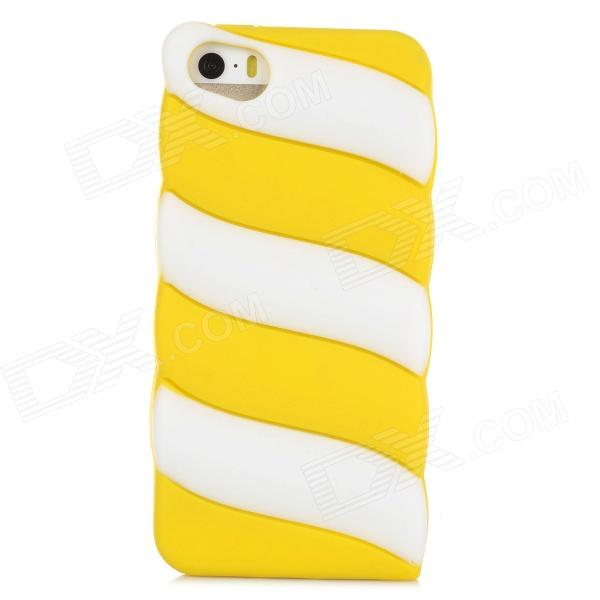 Cute Marshmallow Style Silicone Back Case for Iphone 5 / 5s - Yellow + White koko stylish cute cat ear style protective silicone back case for iphone 5 5s white