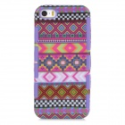 Stylish Patterned 2-in-1 Plastic Back Case for Iphone 5 / 5s - Deep Grey + Purple